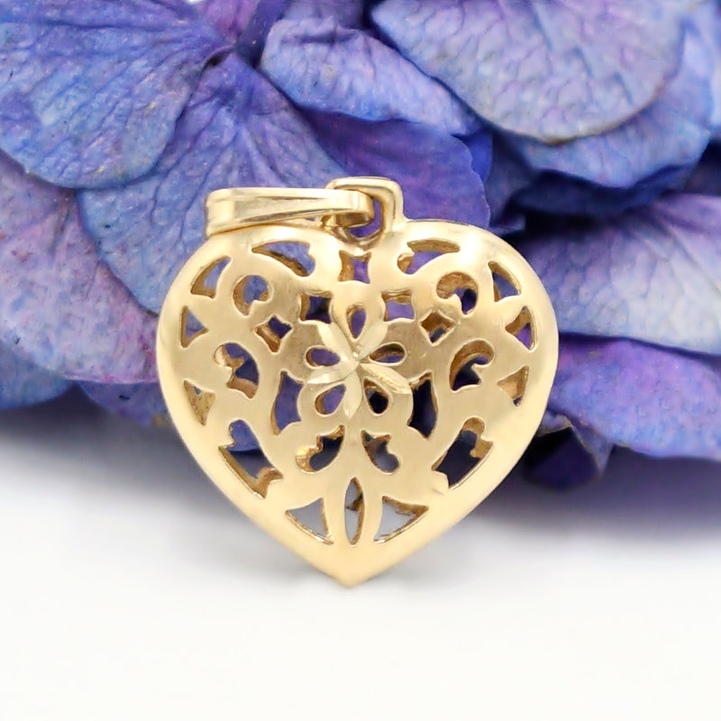 14k Yellow Gold Estate Diamond Cut Pierced Heart Pendant
