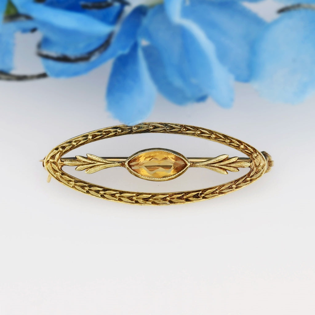 14k Yellow Gold Antique Ornate Citrine Gemstone Pin/Brooch