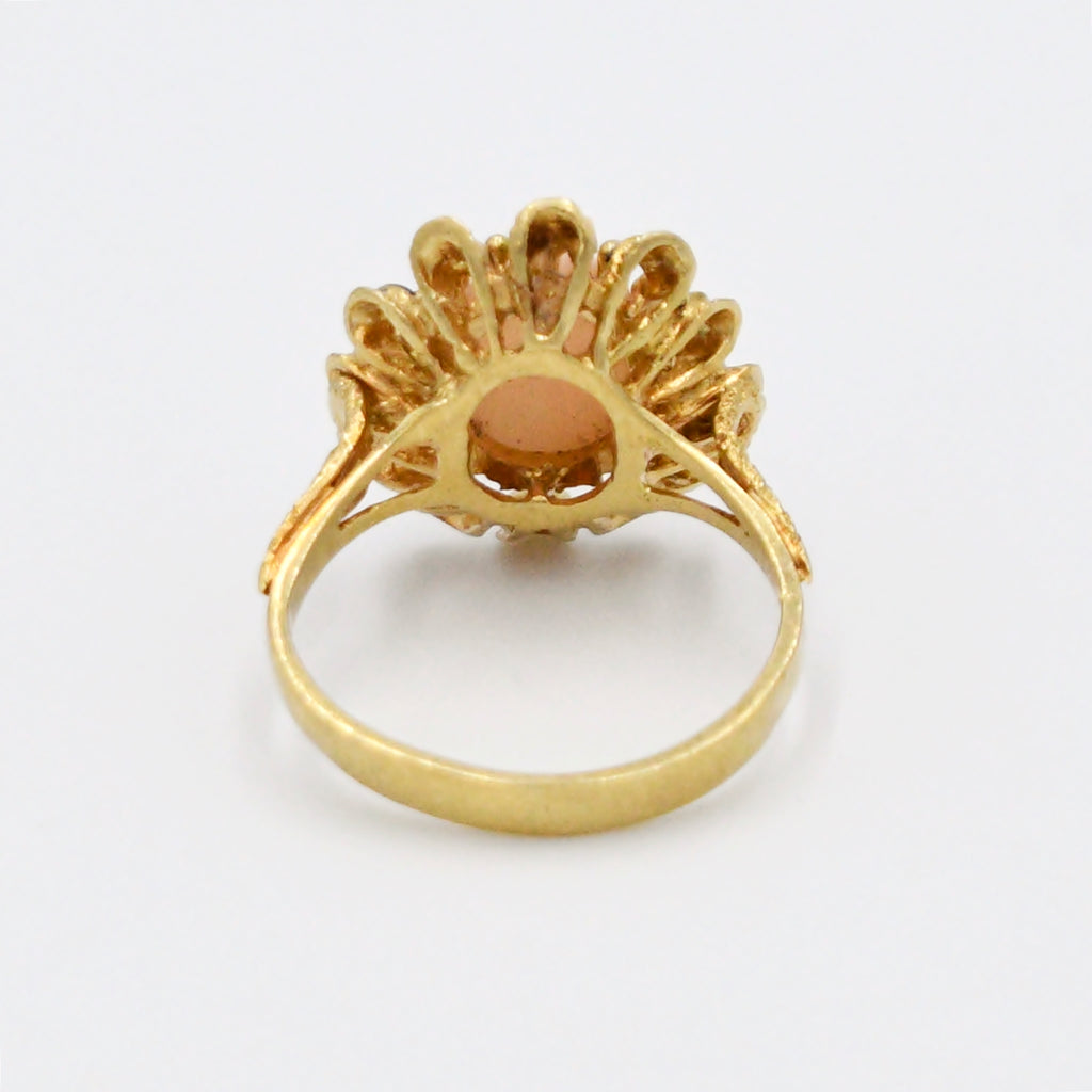 18k Yellow Gold Antique Ornate Enamel Angel Skin Coral Ring Size 8