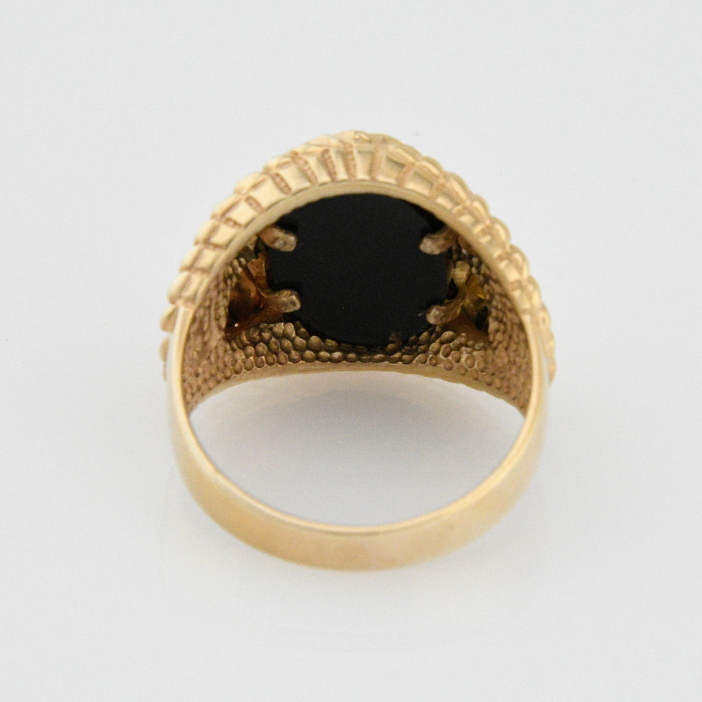 10k Tri-Colored Gold Ornate Diamond Cut Onyx Eagle Ring Size 12.25