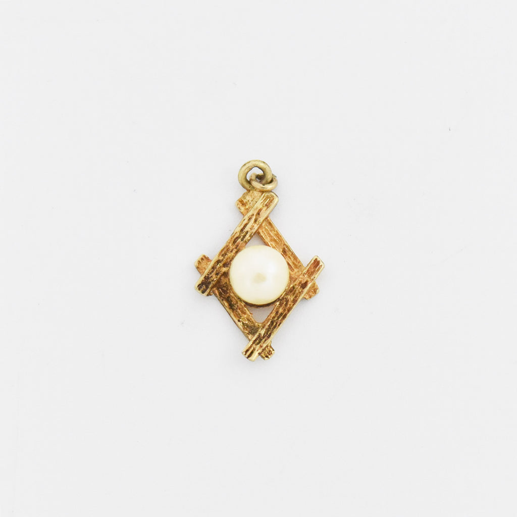 14k Yellow Gold Estate Textured Pearl Pendant