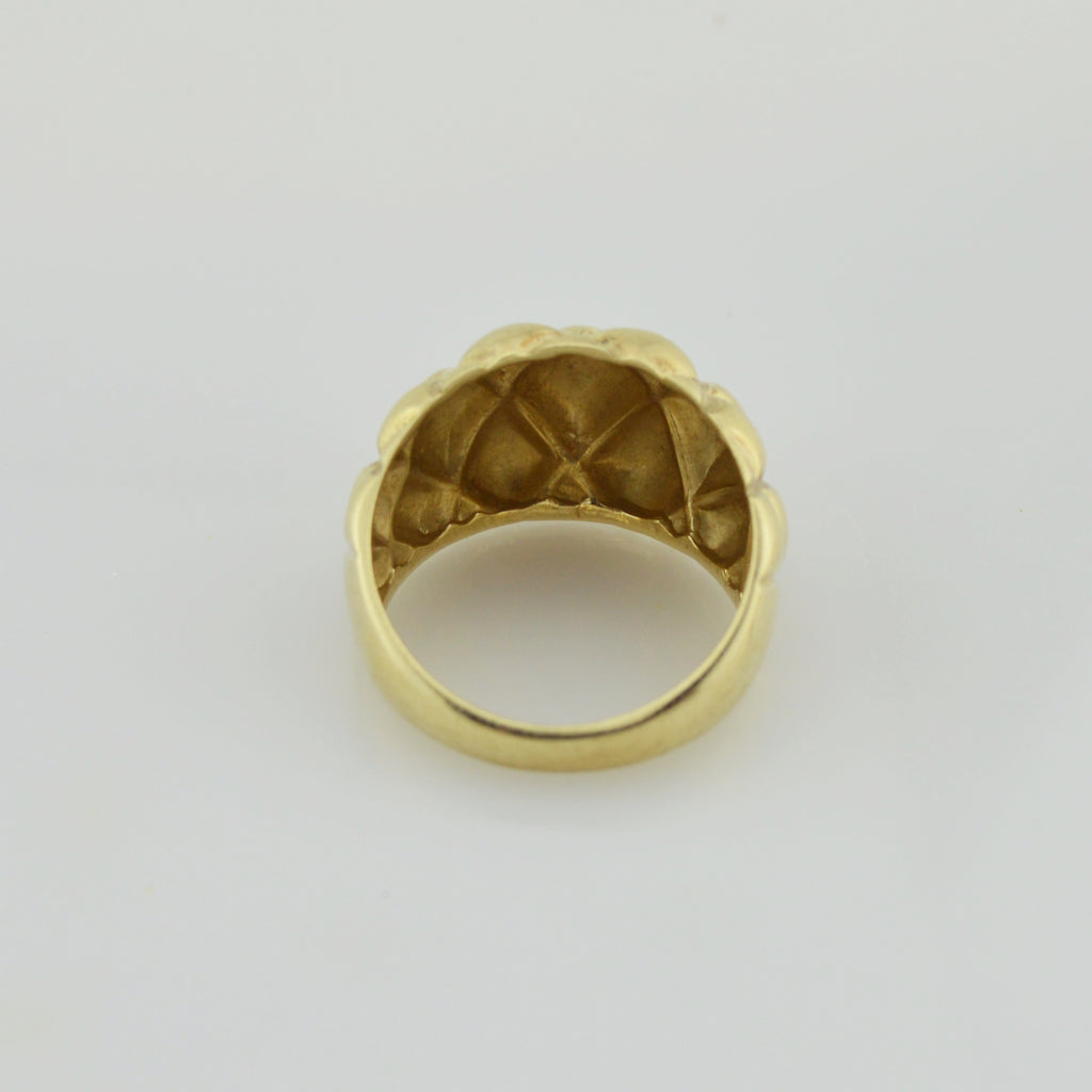 10k Yellow Gold Estate Quilted Pattern Ring Size 7