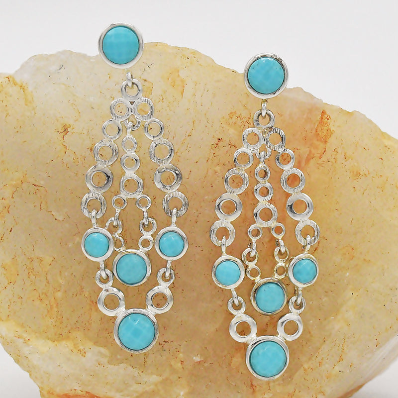 New Sterling Silver 925 ROBERT ELIZONDO Turquoise Chandelier Earrings