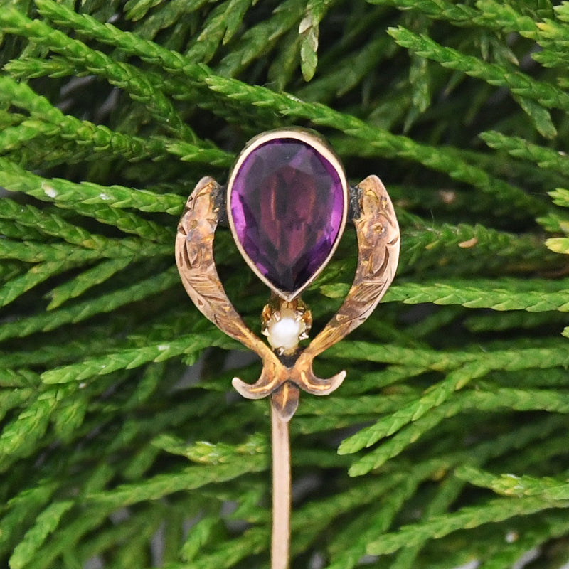 10k YG Vintage Purple Tear Drop/Pear Gemstone & Pearl Stick Pin