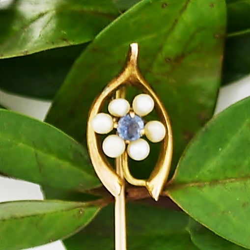 10k Yellow Gold Antique Pearl & Sapphire Stick Pin