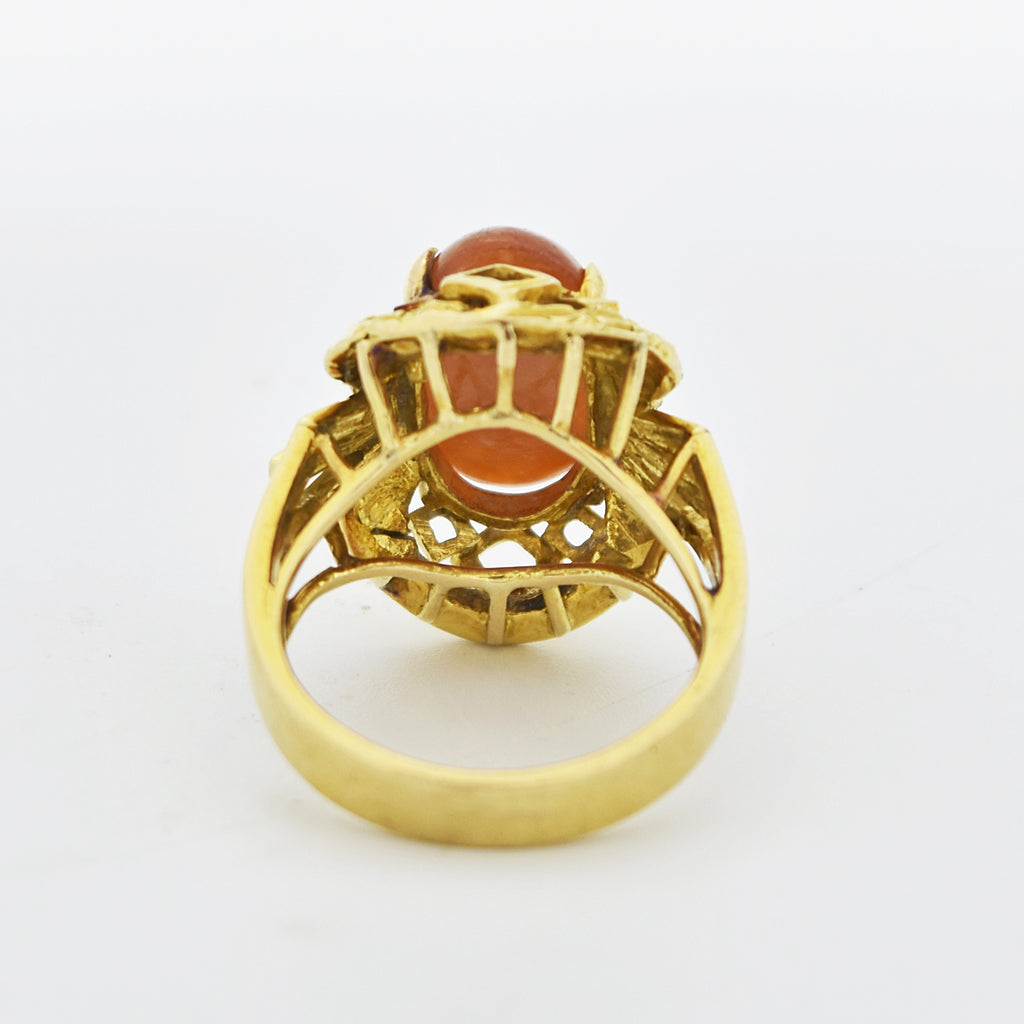 14k Yellow Gold Vintage Ornate Cabochon Carnelian Ring Size 7