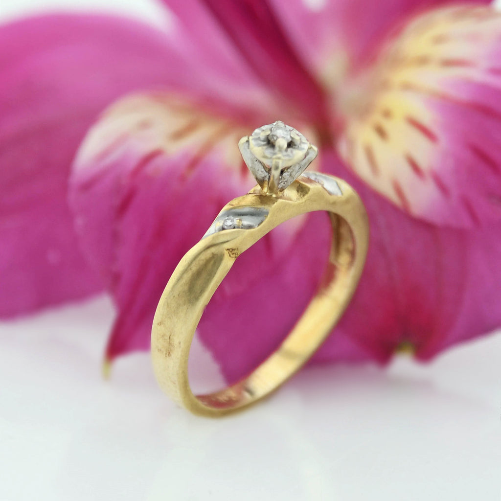 14k Yellow Gold Vintage Diamond Engagement Ring Size 6