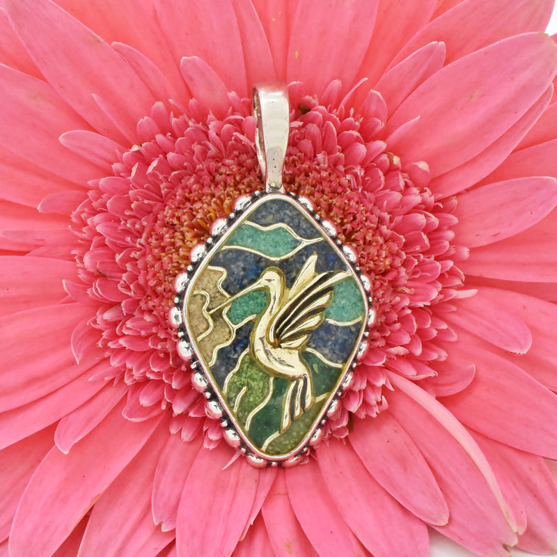 Sterling Silver 925 Southwestern Inlay Hummingbird Turquoise Pendant