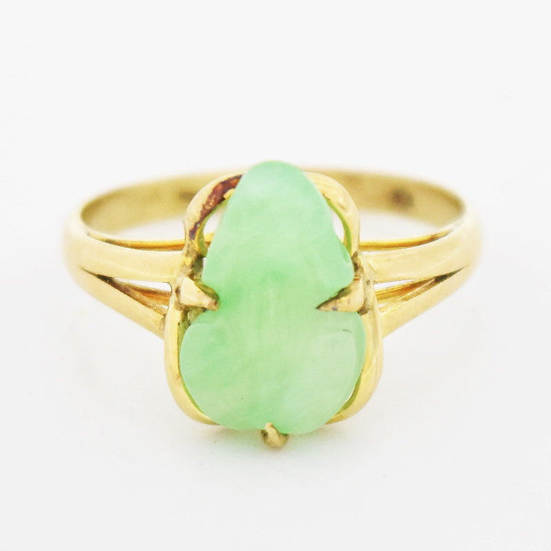 14k Yellow Gold Estate Carved Jade Frog Ring Size 7