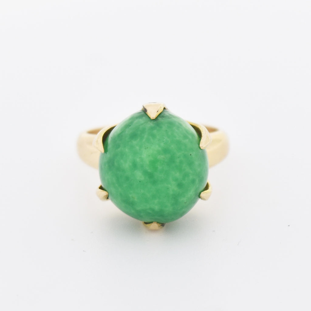 14k Yellow Gold Green Marbled Stone Ball Crown Style Ring Size 6.75