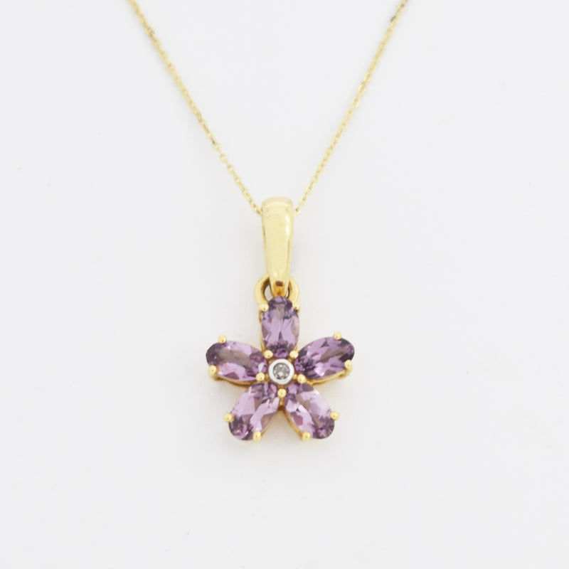 "10k Yellow Gold Estate 18"" Purple Spinel & Diamond Flower Pendant"