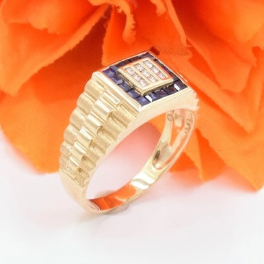 10k Yellow Gold Estate Diamond .09 tcw & Sapphire Stair Step Ring Size 12.25