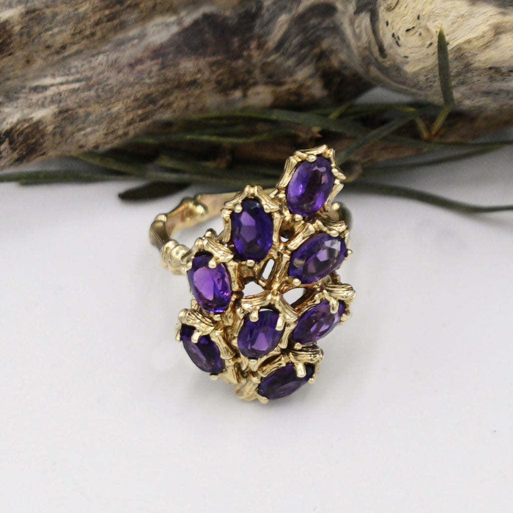 14k Yellow Gold Estate 8 Stone Bamboo Band Amethyst Ring Size 6.75