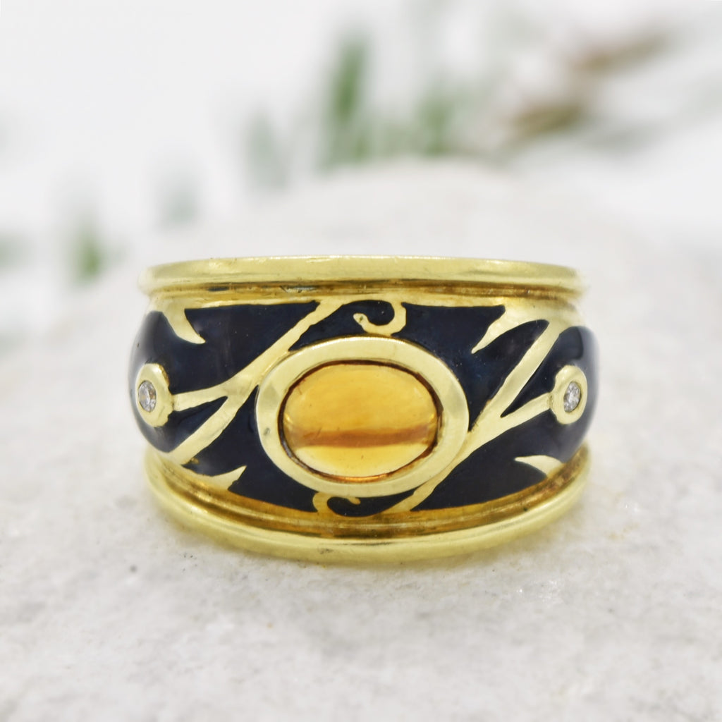 14k YG Black Enamel Cabochon Citrine & Diamond Ring Size 8.25