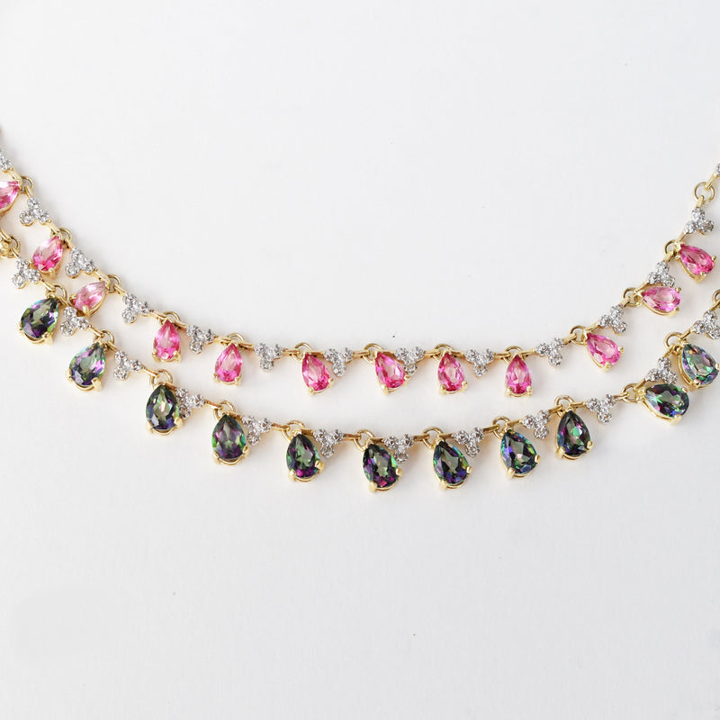 14k YG Diamond Mystic Topaz & Pink Topaz Gem Dbl Strand Necklace 17""