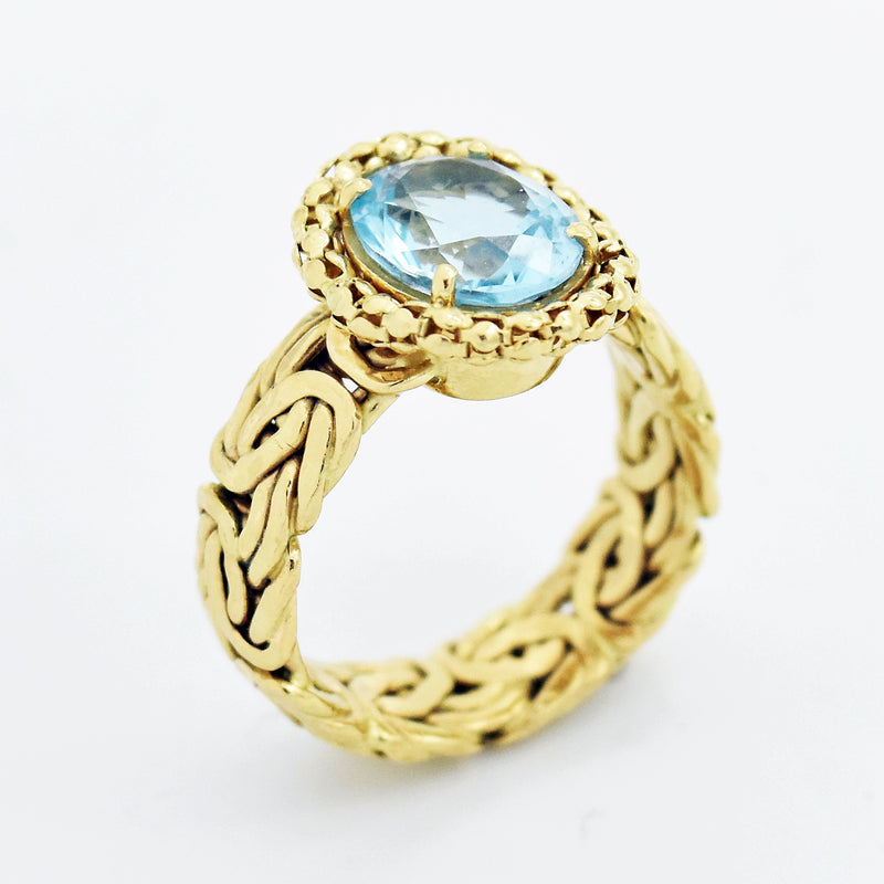 14k Yellow Gold Estate Byzantine Link Blue Topaz Ring Size 10