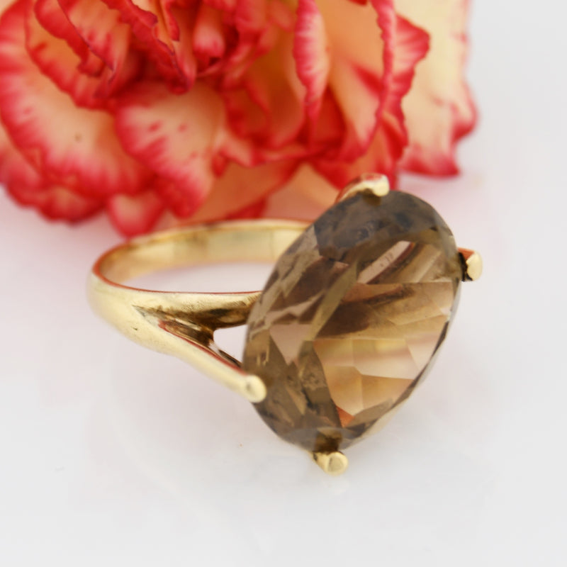 14k Yellow Gold Mid Century Modern Large Citrine Ring Size 7