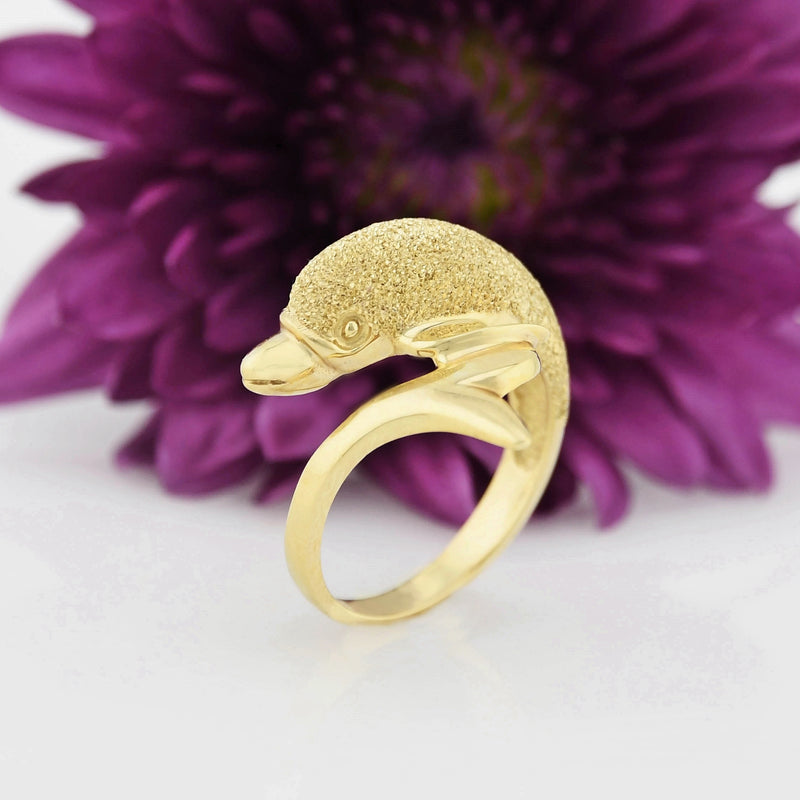 14k Yellow Gold Estate Textured Dolphin Wrap Ring Size 7