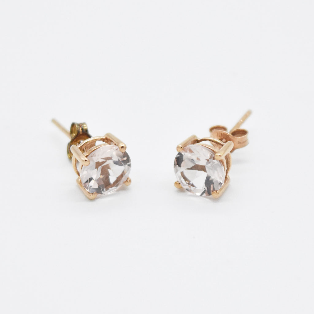 10k Rose Gold Estate CZ Solitaire Stud Earrings