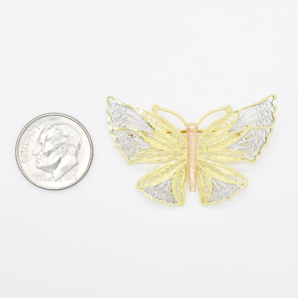 14k Tri Colored Gold Estate Textured Open Work Butterfly Pin