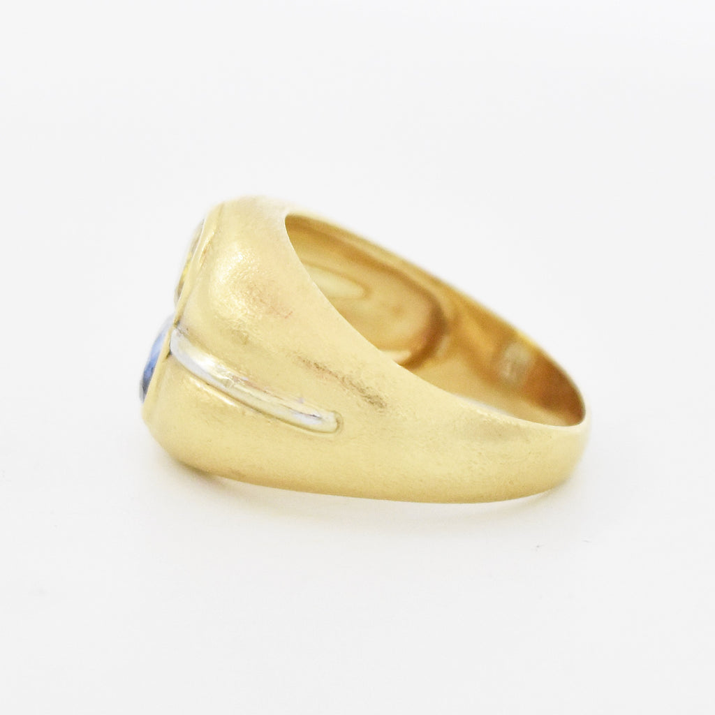 14k Y/W Gold Modern Textured Yellow & Blue Topaz Ring Size 10