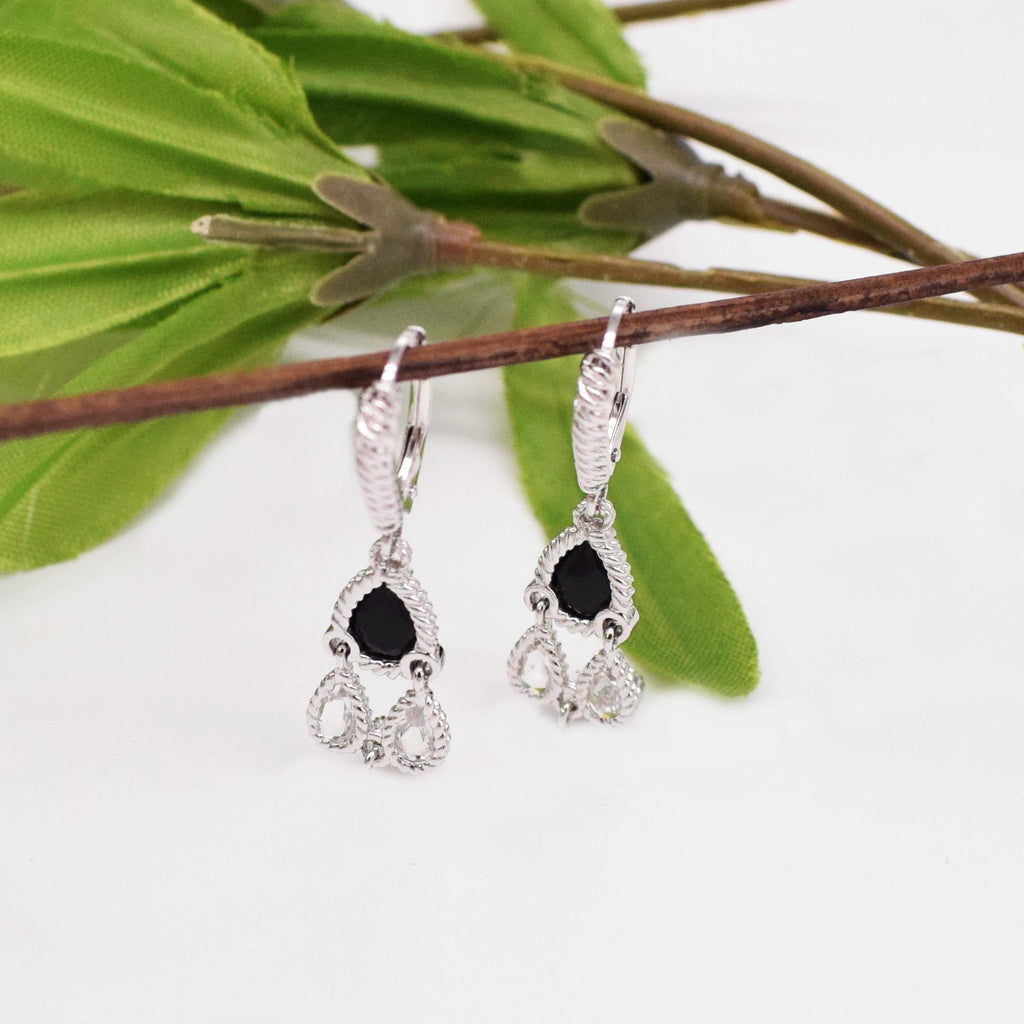 Sterling Silver 925 ANTHONY NAK Black Onyx & Crystal Dangle Earrings