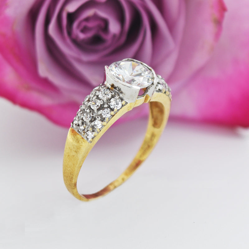 10k Yellow & White Gold Estate CZ Cocktail Ring Size 10