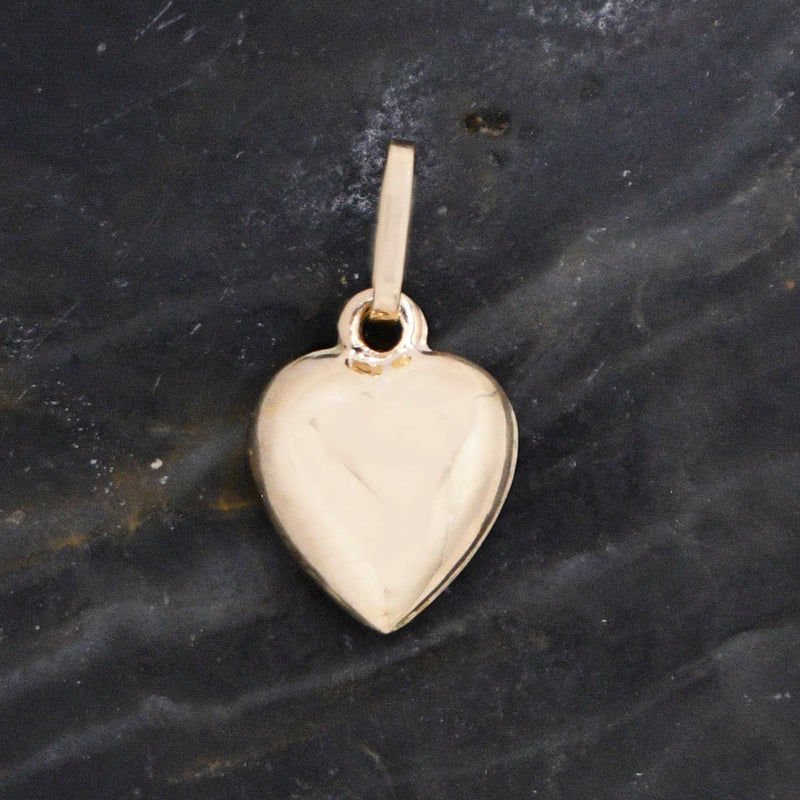 14k Yellow Gold Estate Puffy Heart Love Pendant