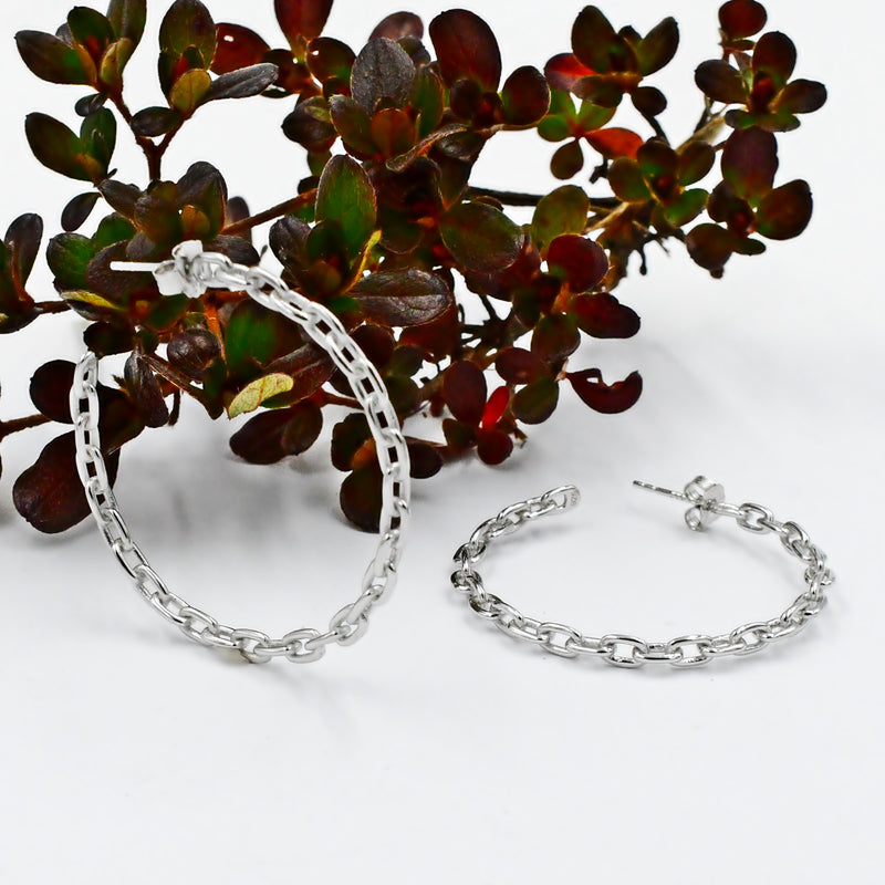 Sterling Silver 925 Cable Chain Link Hoops/Hoop Earrings