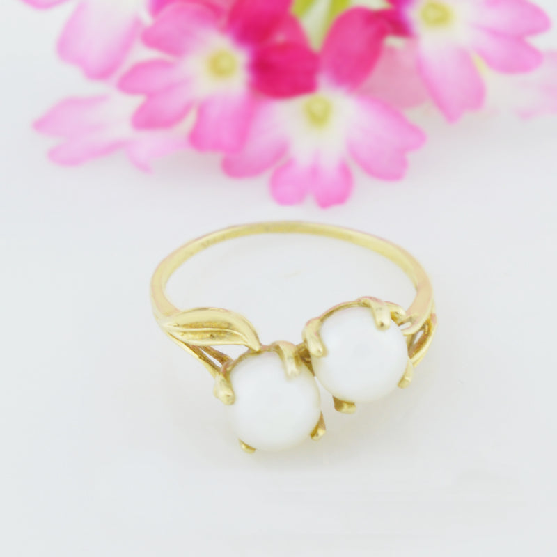 14k Yellow Gold Estate Dual/Double 6.2 mm Pearl Ring Size 6.25
