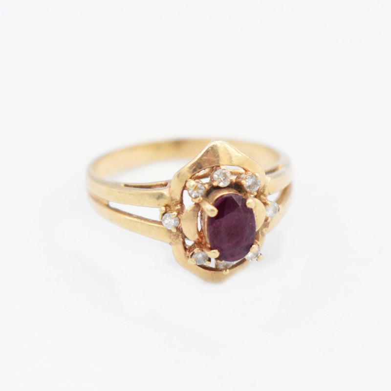 14k Yellow Gold Ruby & Diamond 0.08 tcw Open Band Ring Size 6.75