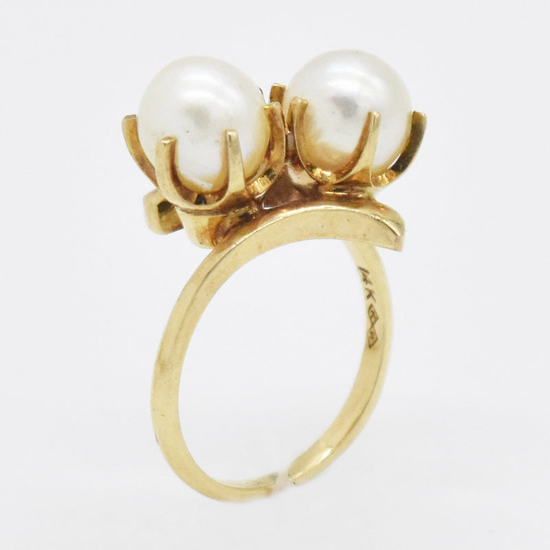 14k Yellow Gold Estate Swirl Double Pearl Ring Size 6