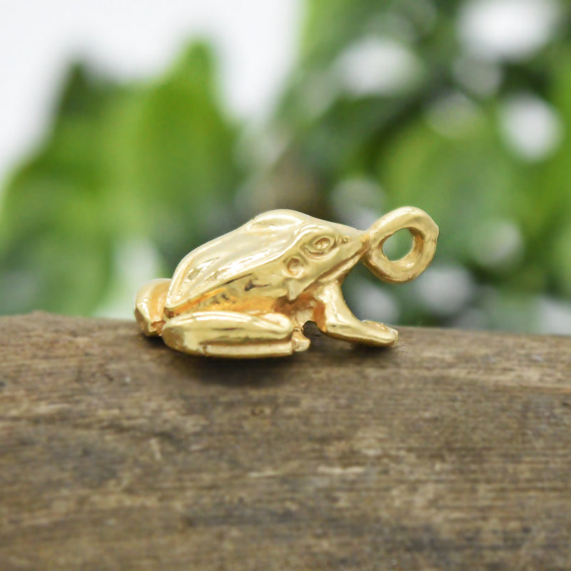 14k Yellow Gold Estate Carved Sitting Frog Pendant
