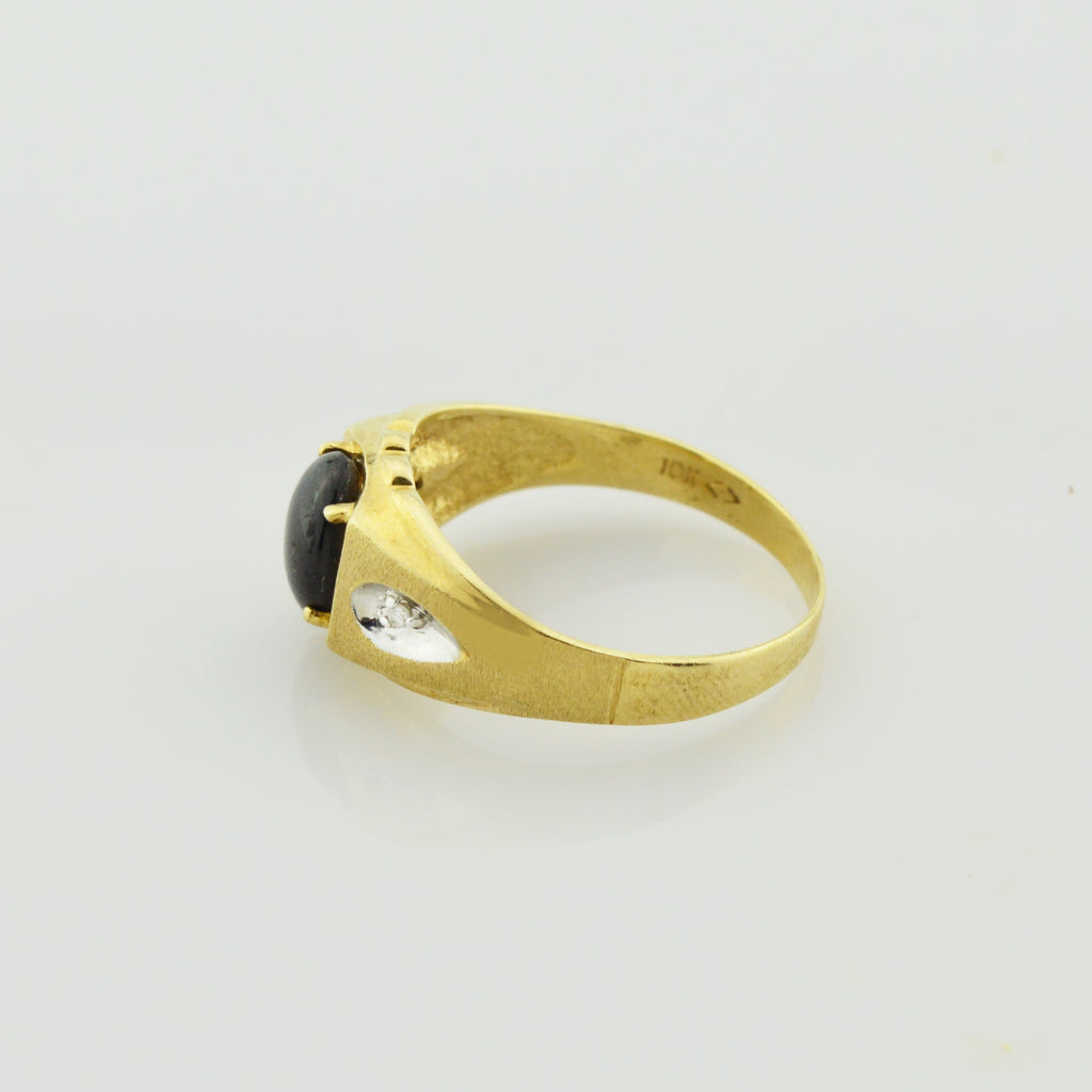 10k Yellow Gold Vintage Black Star Sapphire & Diamond Ring Size 11.5