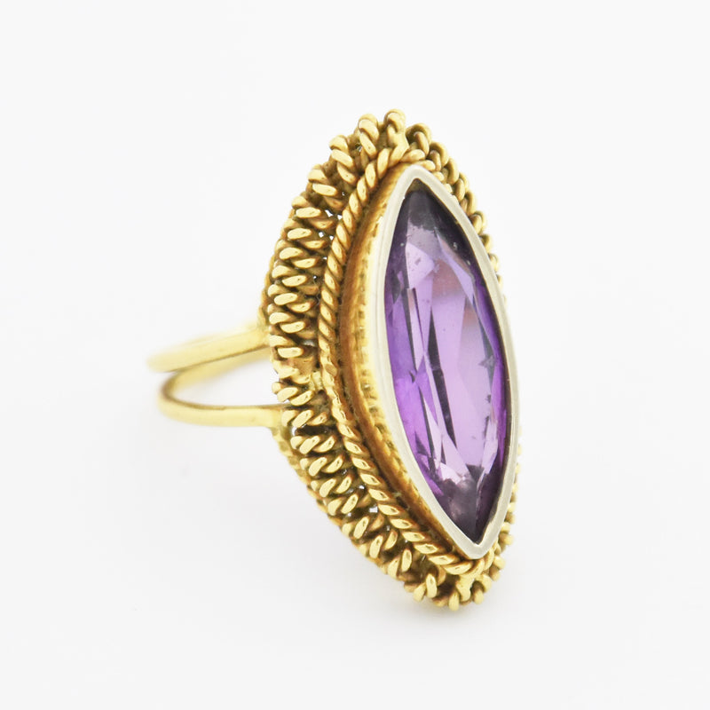 18k Yellow Gold Estate Open Band Purple Sapphire Ring Size 5.75