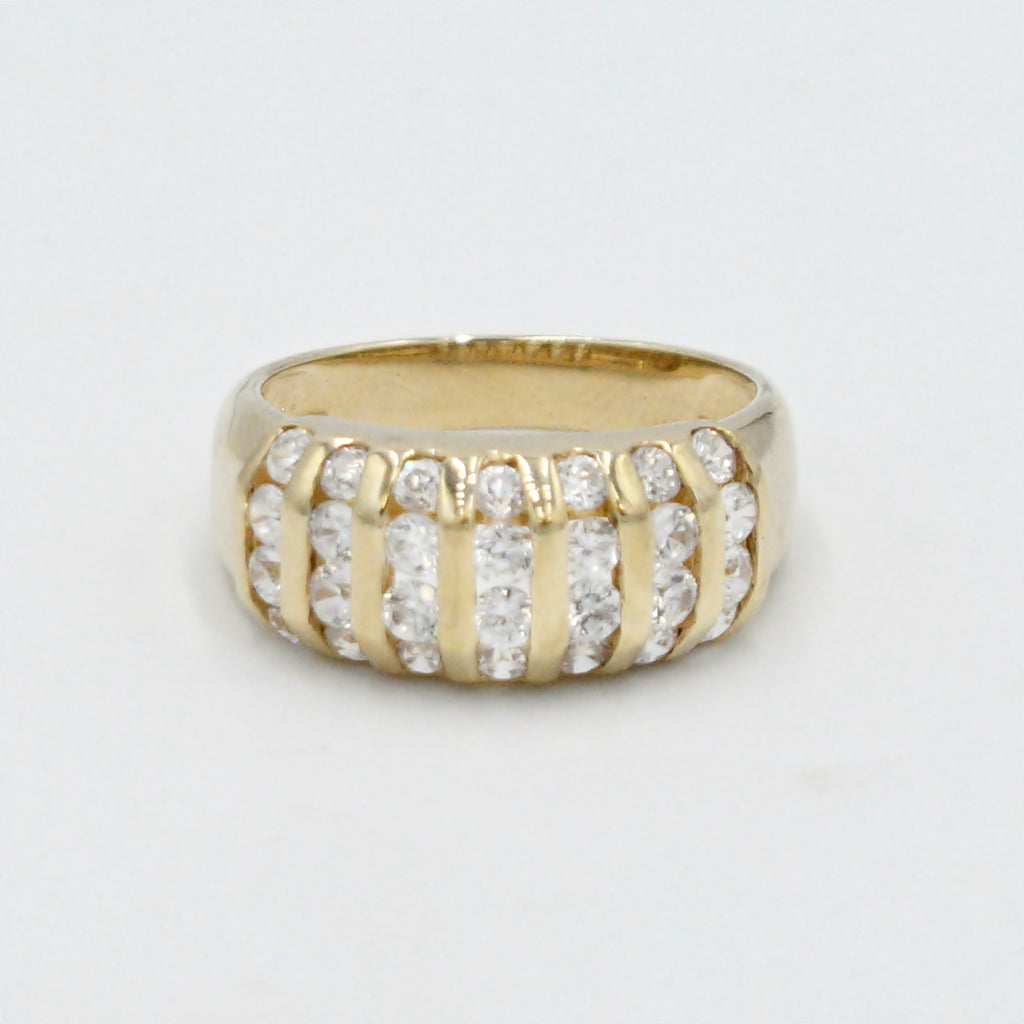 10k Yellow Gold Estate 7 Row CZ Gemstone Band/Ring Size 10