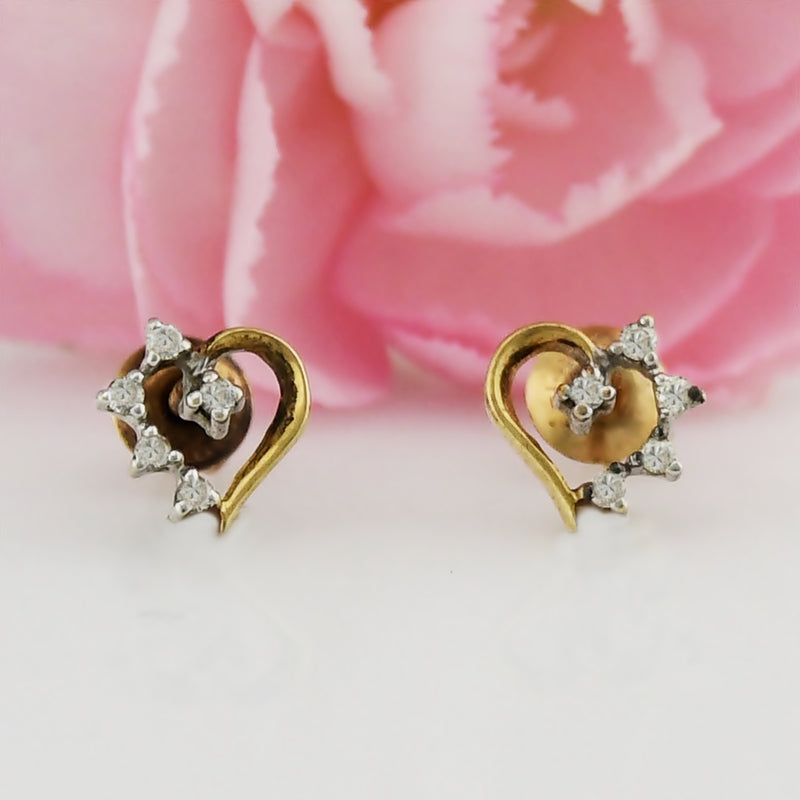 14k Yellow & White Gold Estate Open Heart Diamond Screwback Earrings