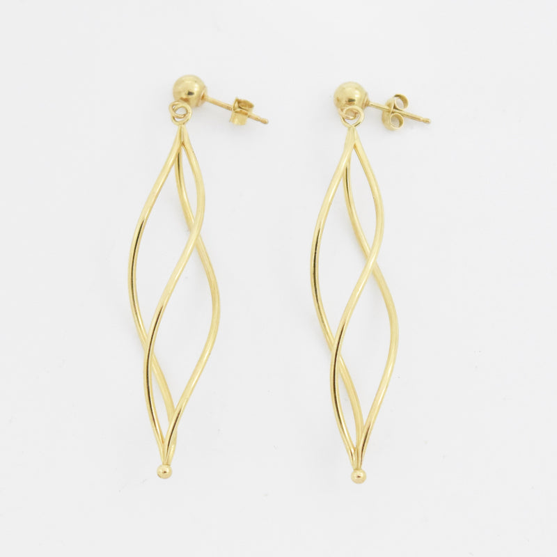 14k Yellow Gold Estate Open Twisted Dangle/Drop Post Earrings