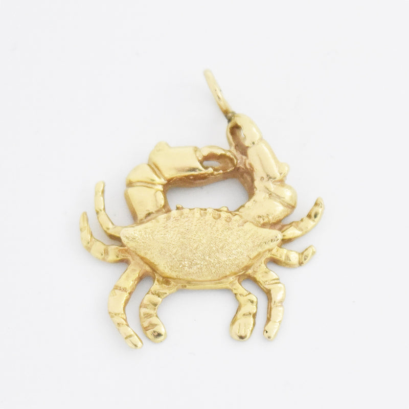 14k Yellow Gold Estate Textured Crab Charm/Pendant