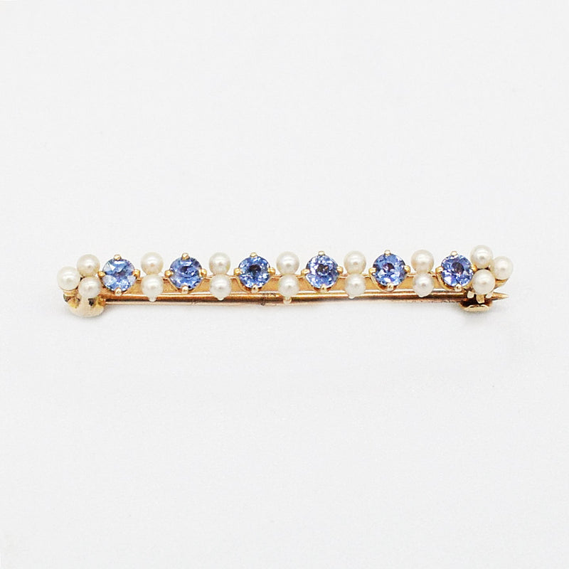 14k Yellow Gold Antique Sapphire & Pearl 1.5 mm Bar Pin