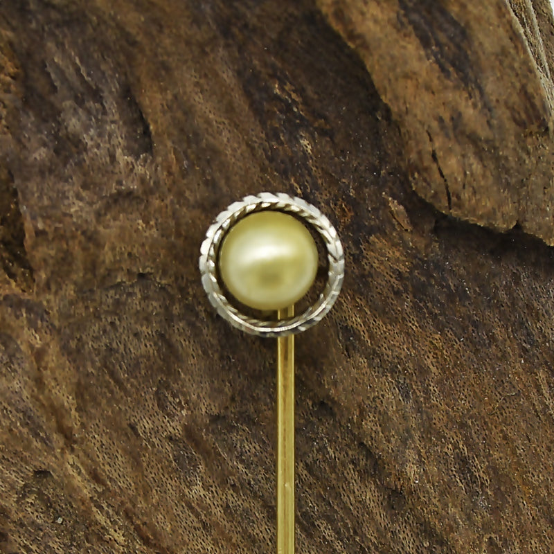 14k Yellow & White Gold Vintage Wreath Design Pearl Stick Pin