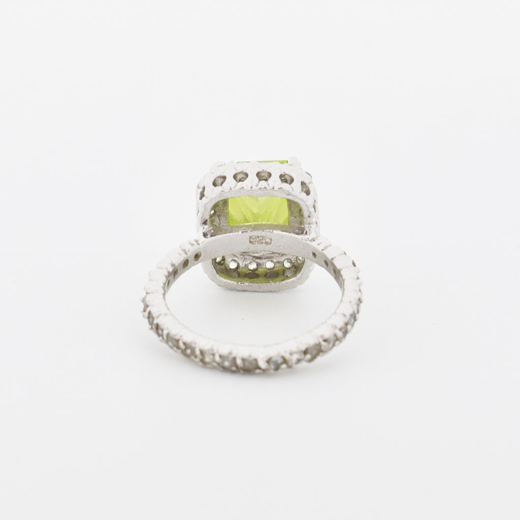 Sterling Silver 925 Fancy Lime Green & White Gemstone Ring Size 6.25