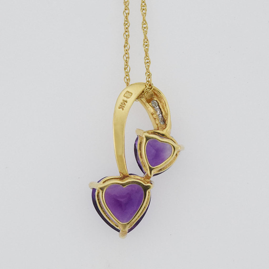 "14k Yellow Gold 18 1/4"" Double Heart Amethyst & Diamond Necklace"
