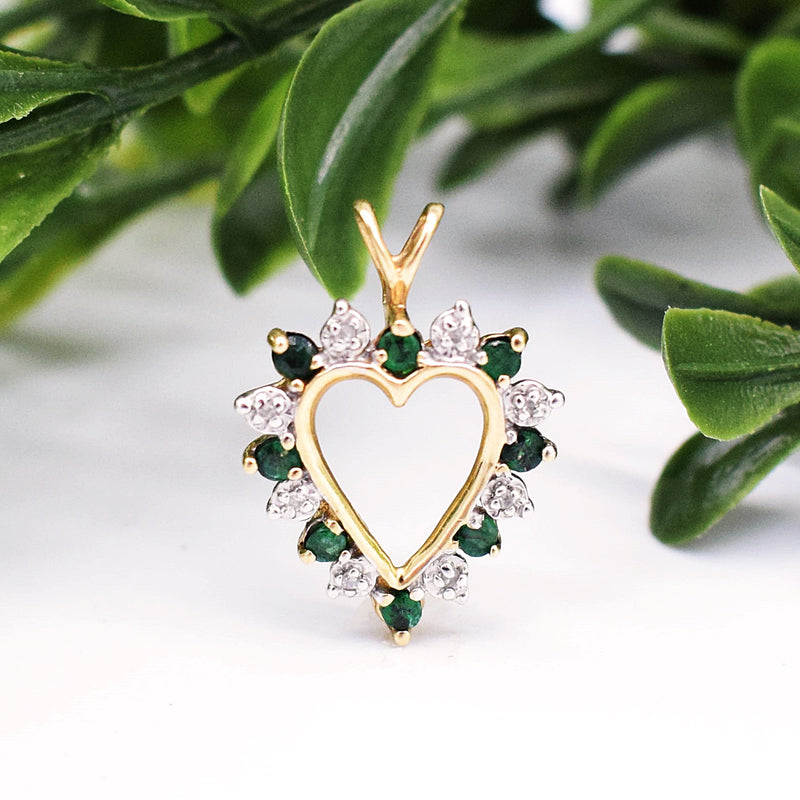 10k YG Emerald & Diamond 0.04 tcw Open Heart Pendant