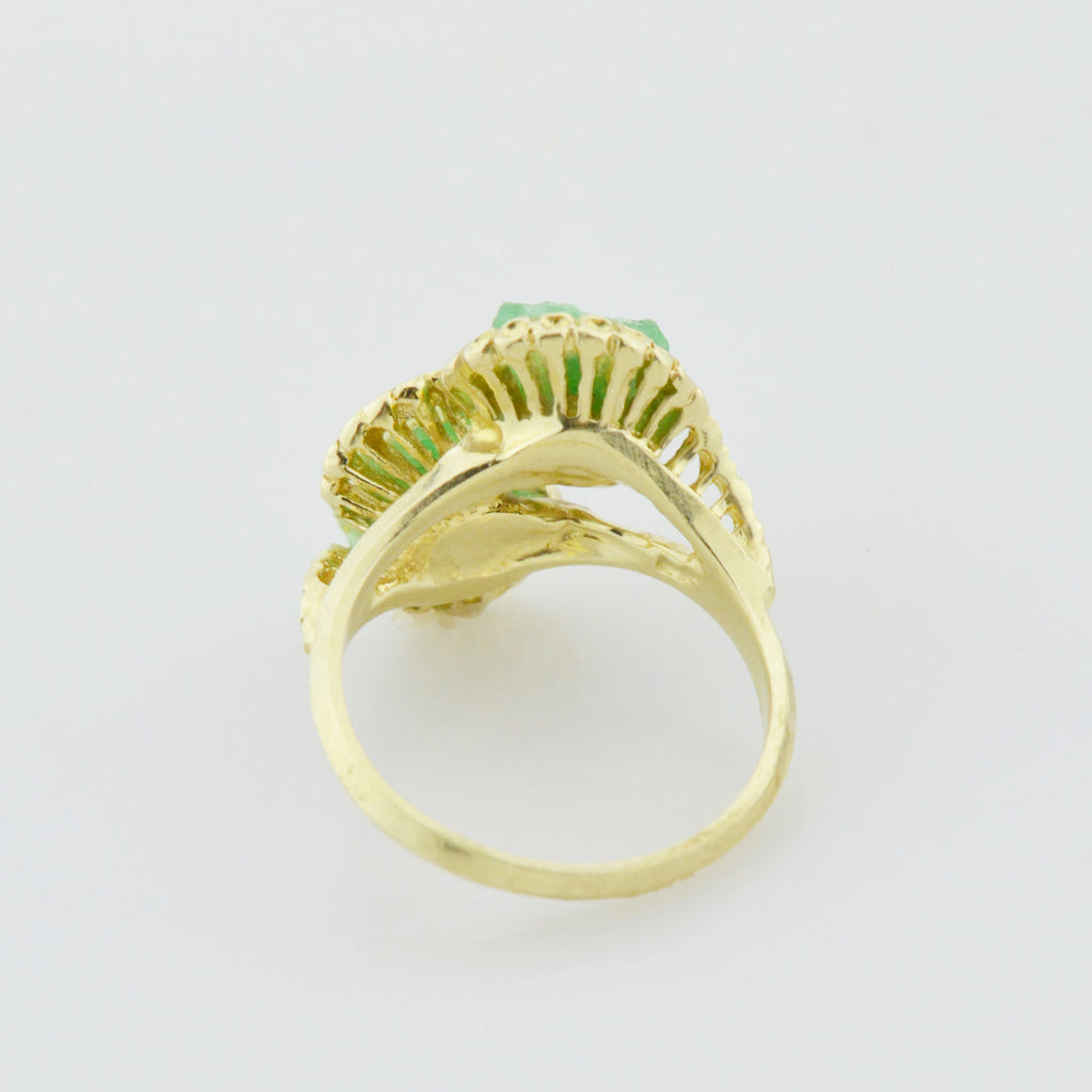 14k Yellow Gold Estate Raw Emerald Ring Size 6.25