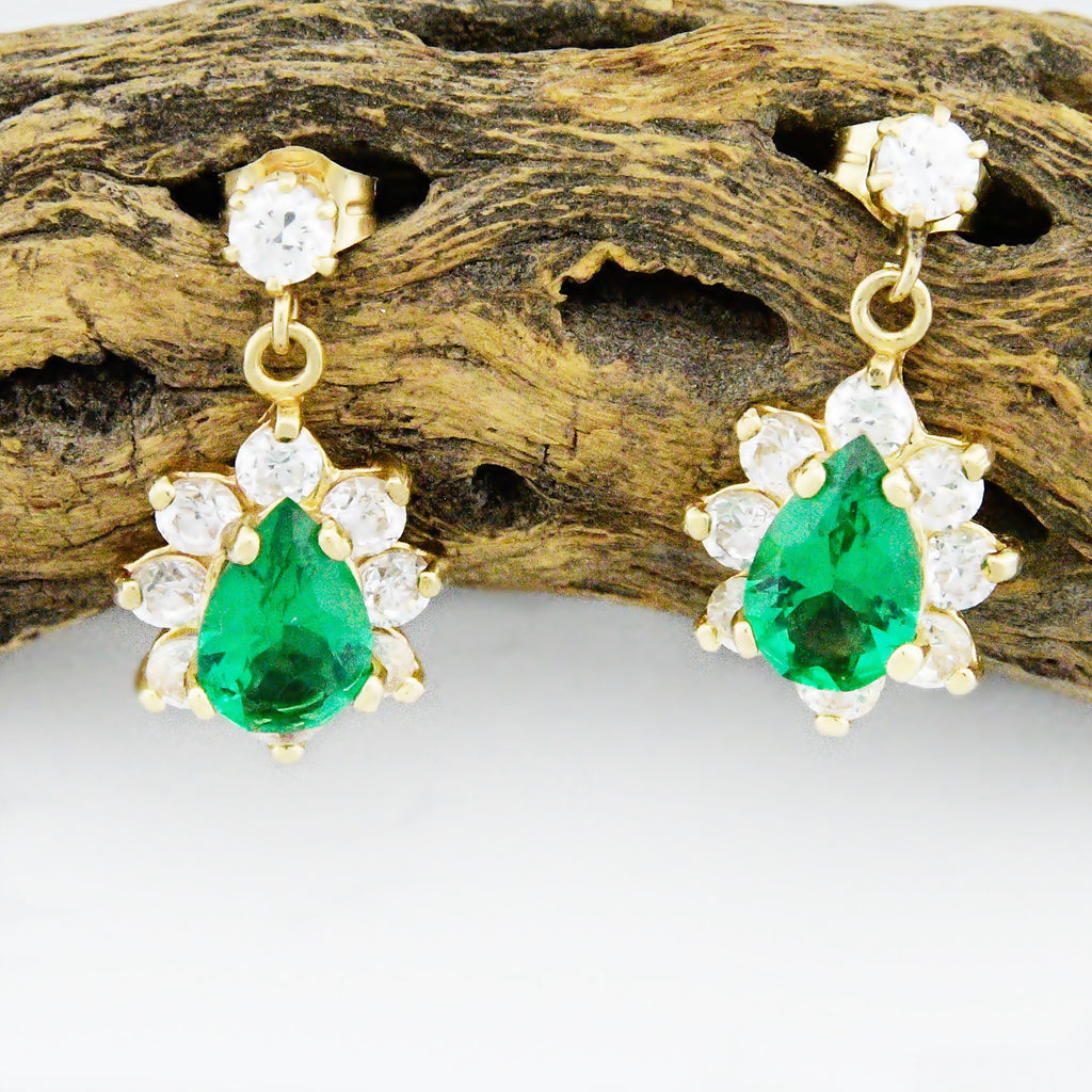 14k Yellow Gold Pear Shaped Green & White Gemstone Post Earrings