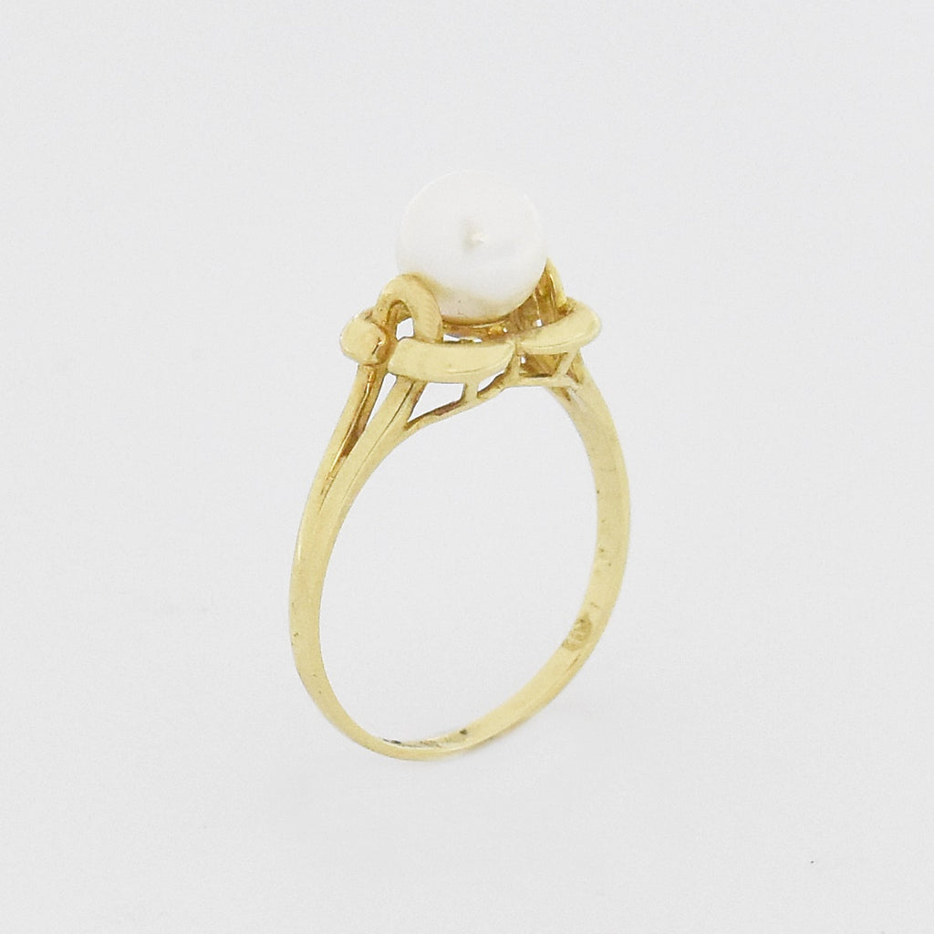 10k Yellow Gold Estate Open Work Pearl Ring Size 7