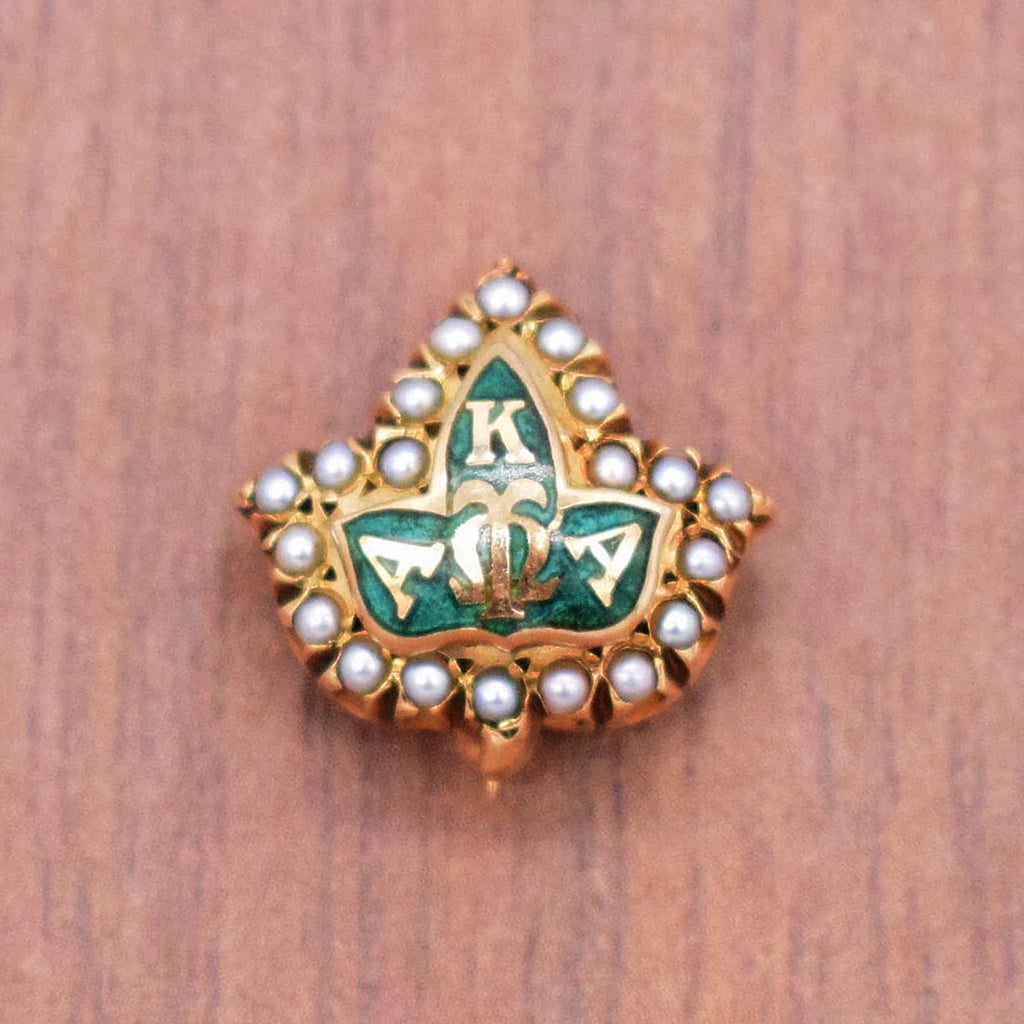 10k Yellow Gold Antique Green Enamel Pearl 1.5 mm Frat Pin
