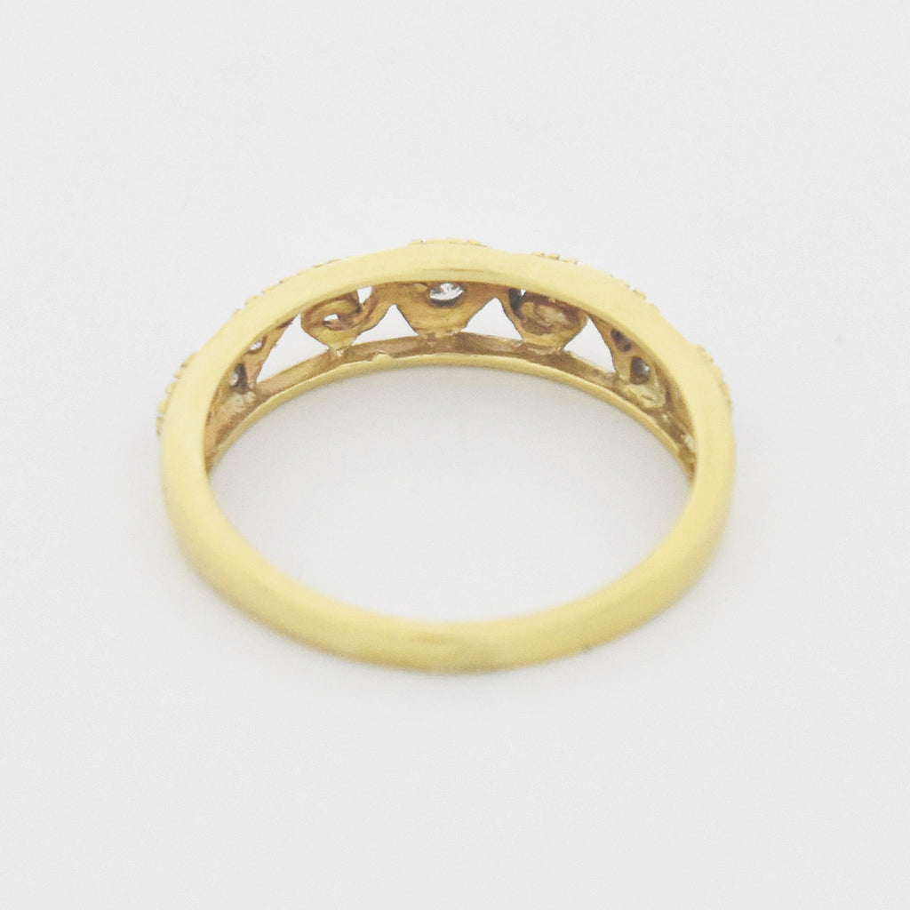 14k Yellow Gold Estate Open Swirl Diamond Band/Ring Size 6.25