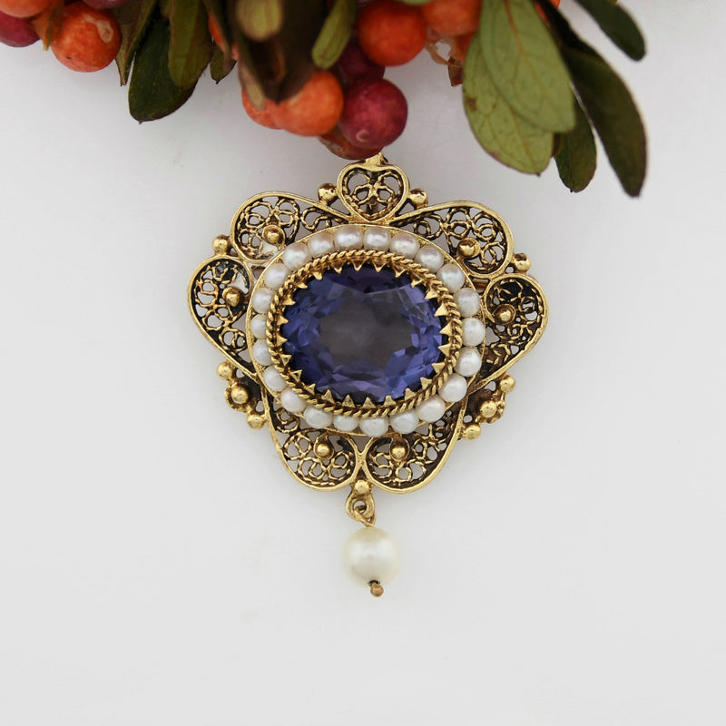 14k YG Vintage Ornate Filigree Purple Sapphire & Pearl Pin/Pendant